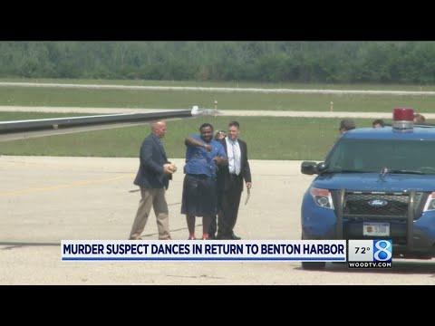 Murder suspect dances in return to Benton Harbor