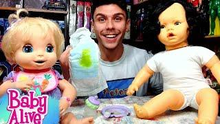 Boneca que COME e faz Xixi e Cocô na Fraldinha feita em CASA! Baby Alive Peter Toys