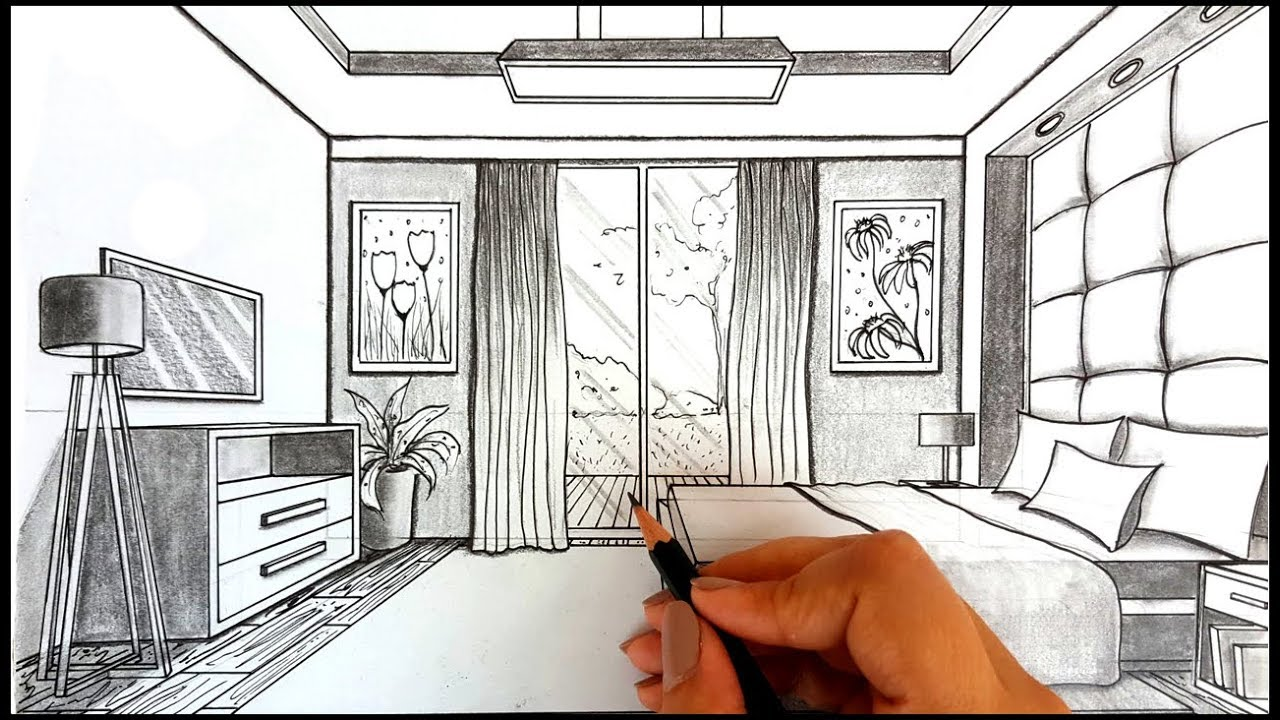 Drawing A Bedroom in One Point Perspective | Timelapse