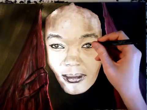 Portrait Dessin Jeune Femme Libyenne Au Voile Rouge Youtube