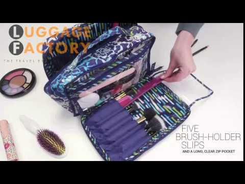 43ab506acf09 Vera Bradley Large Blush   Brush Makeup Case new - YouTube