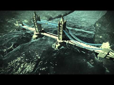 Tsunami Hits The London Bridge - Real Flow 2013 Simulation