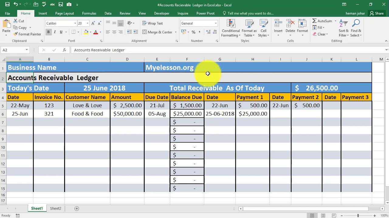 make accounts receivable ledger in excel youtube