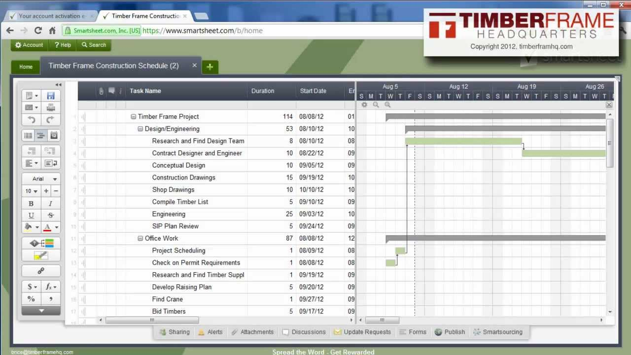 How to Setup a Construction Schedule With Smart Sheet - YouTube