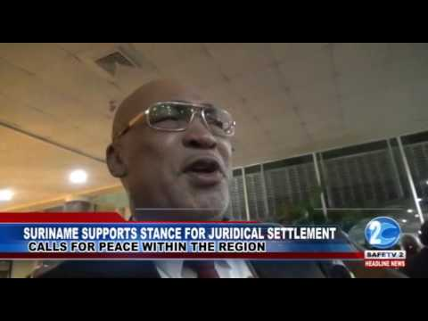 SURINAME SUPPORTS STANCE FOR JURIDICAL SETTLEMENT