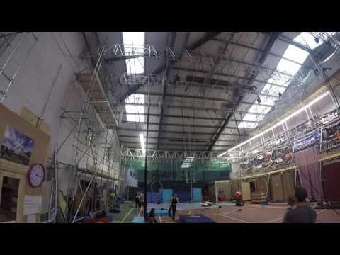 Swinging trapeze training at NoFit State Circus, 2016. Tricks.