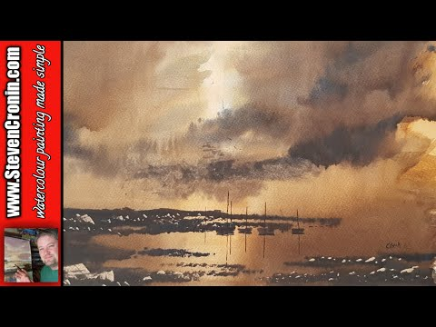 Harbour in evening light watercolour painting demo