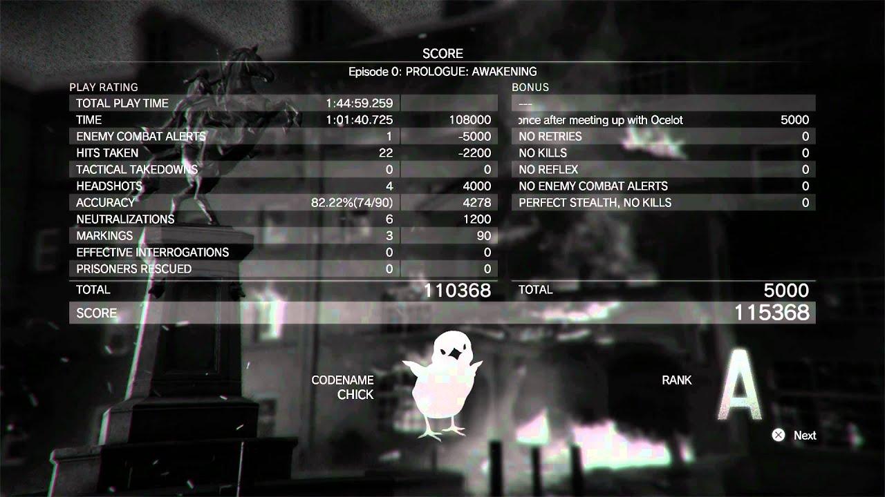 Metal Gear Solid V: The Phantom Pain - Episode 0 Prologue Awakening Grade  A, Stats, Codename Chick