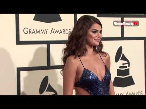 Selena Gomez arrives at 58th Annual Grammy Awards Red carpet