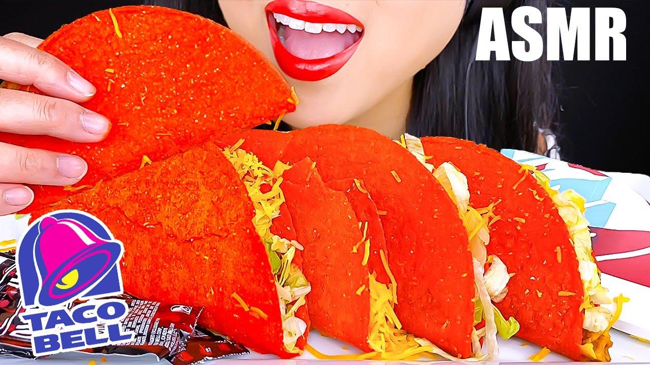 ASMR Taco Bell FLAMIN' HOT CRUNCHY TACOS MUKBANG   EATING SOUNDS   EATING SHOW   ASMR Phan