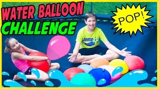 TRAMPOLINE & WATER BALLOON CHALLENGE! POPPING GIANT WATER BALLOONS GAME FUN