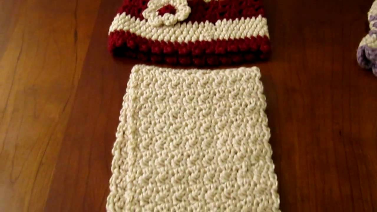Crochet Scarf Pattern Child : Crochet child hat and scarf - YouTube