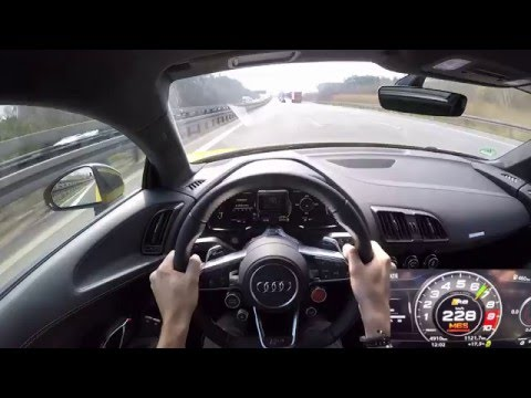 2016 Audi R8 V10 Plus - 300+ km/h POV drive on the Autobahn