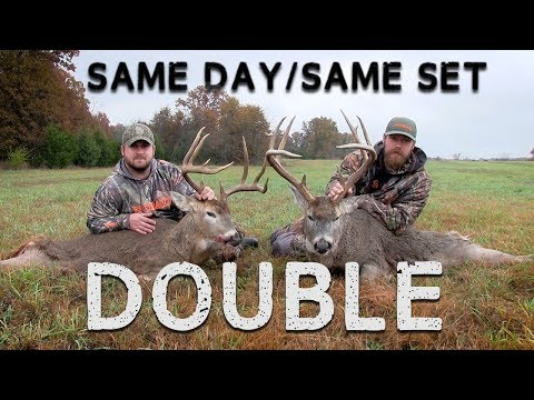 Hunters Double Up on Two Whitetails  Extremely RARE Hunt!