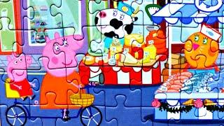 Свинка Пеппа делает покупки - собираем пазлы для детей с героями мультика Свинка Пеппа Peppa Pig