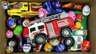 장난감 상자속 소방차 청소차 각종 자동차 놀이 영어 배…