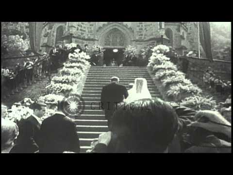 The wedding of Princess Marie Aglae of Germany and Prince Hans-Adam II of Liechte...HD Stock Footage