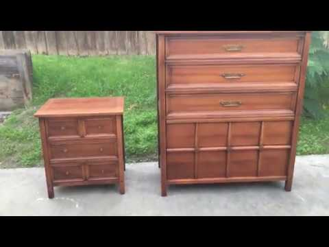 Mid Century 5 Drawer Tall Dresser And Nightstand By American Martinsville