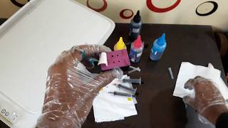 HP 803 Ink Cartridge tri color ink Refill | How to refill HP 803 Cartridge with color ink HP 2131