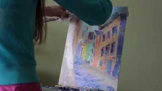 Рисуем город. Масло. Суханова Виктория