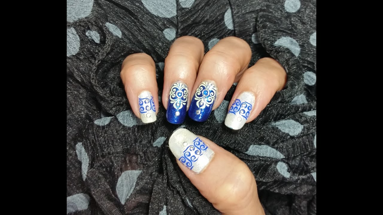 Nail Art Design Blue & Cream Classy Design With Studs & Gems - YouTube
