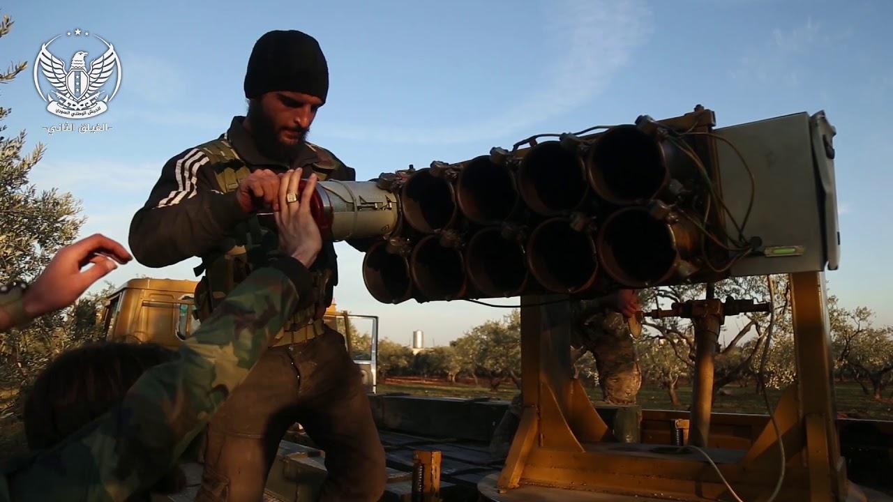 استهداف اماكن تجمع عصابات الأسد وميليشيا ايران في مدينة سراقب بصواريخ الغراد