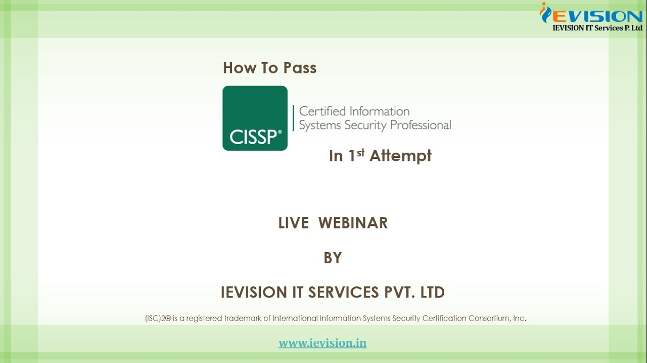 How To Pass Cissp In 1st Attempt Youtube