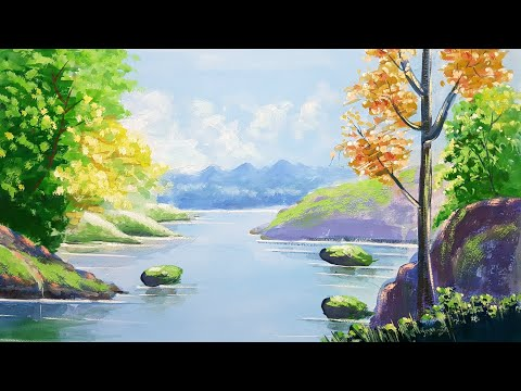 How to paint a Autumn Forest landscape With Poster Colour | Art Canvas