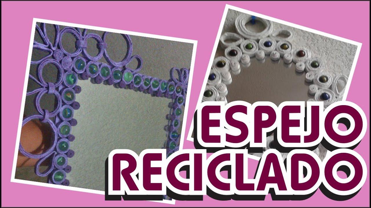 Espejo reciclado decorado con tubitos de papel youtube for Decoracion de comedores con espejos