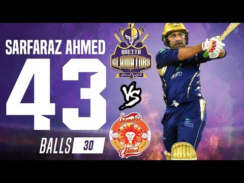 Sarfraz Ahmed Best Batting 43 runs in PSL | Quetta Gladiators Vs Islamabad United | HBL PSL 2018