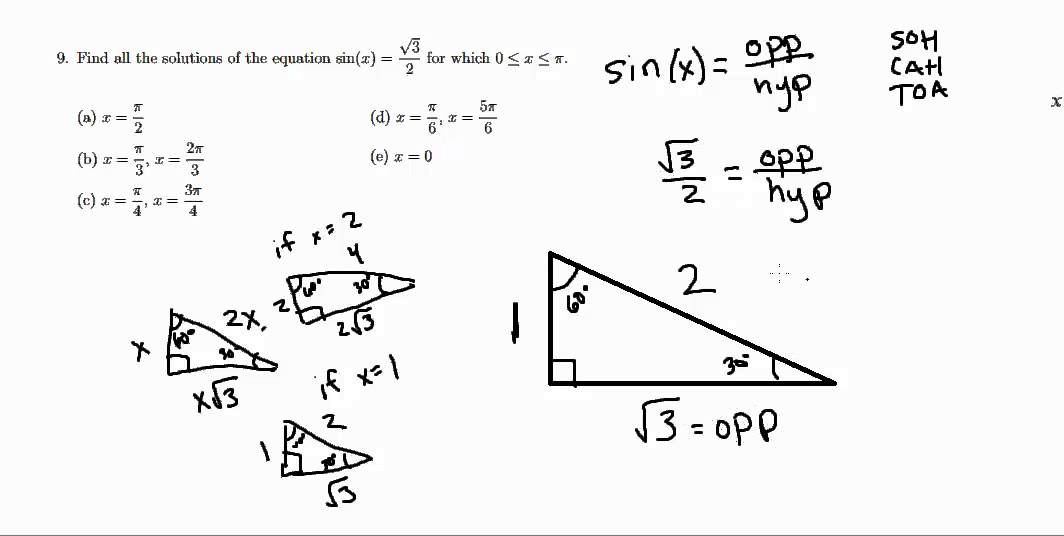 Solutions to Fresno State CRT Trigonometry Practice