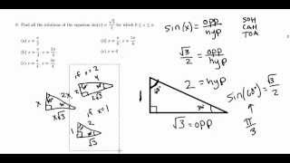 Solutions to Fresno State CRT Trigonometry Practice: Question 9