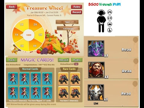 Clash of Lords 2 - $500 Event Fun Treasure Wheel 122 Spins Magic Cards 247 Blue & 24 Gold Card Flips