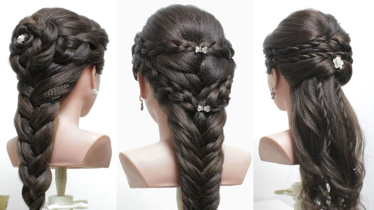 Easy Styles For Long Hair: 3 Easy Hairstyles For Long Hair Tutorial. Cute Braids