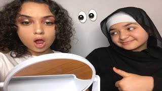 My sister does my makeup for the first time | CRINGYY