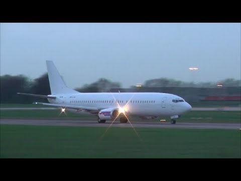 Go2Sky B737-400 | OM-GTB *All-White* ► evening take-off Hannover Airport [EDDV/HAJ]