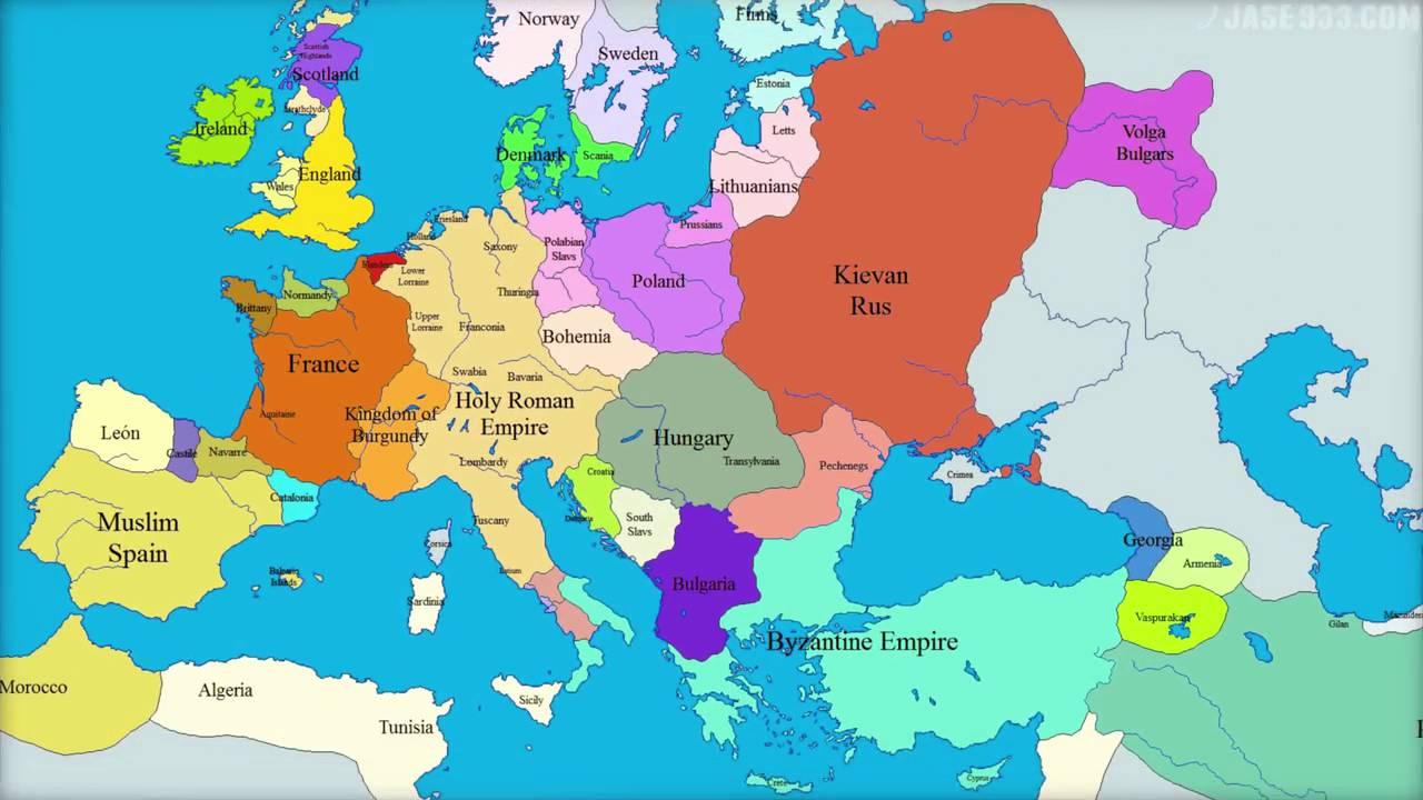 El Mapa De Europa.El Mundo De 1000 Anos En Europa Mapa 1000 2000