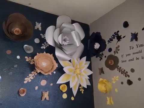 Flor De Papel Grande Idea Para Decorar La Pared De Mi Cuarto Youtube