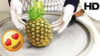 أكلات الشوارع حول العالم - ايس كريم على الصاج بالاناناس(مع تقيمي للطعم)- Pineapple