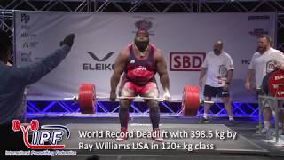 World Record Deadlift with 398.5 kg by Ray Williams USA in 120+ kg class