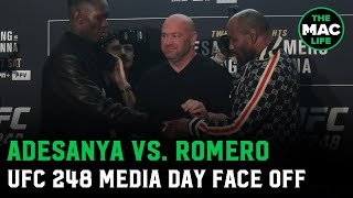 Israel Adesanya's watch catches Yoel Romero's attention during face off | UFC 248 Media Days