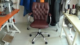 Leather Upholstery- An Old Used Office Chair Recovered In Leather