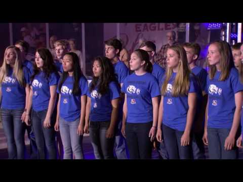 Frontier Academy peforms the Star Spangled Banner
