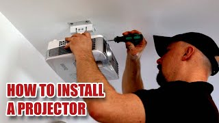 "HOW TO INSTALL A PROJECTOR on a Ceiling with 90"" Screen - Detailed Install & Projector Set-up [49]"