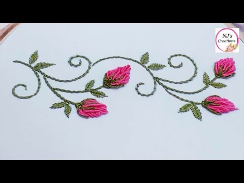 77-Hand Embroidery | decorative border line embroidery | Brazilian Embroidery#2