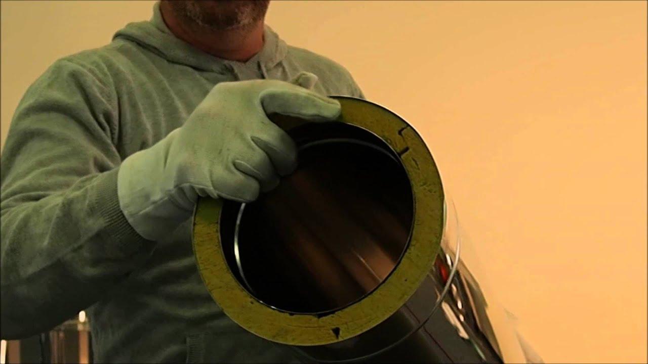 Montage conduit double paroi isol par l 39 int rieur youtube for Tube cheminee double paroi