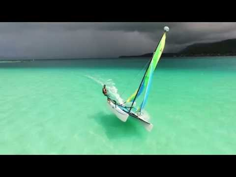 Hobie Cat Ripping across Kaneohe Sandbar