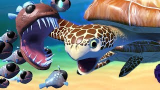 Angler Fish Family Vs Sea Turtle - Feed And Grow Fish - Part 50 | Pungence