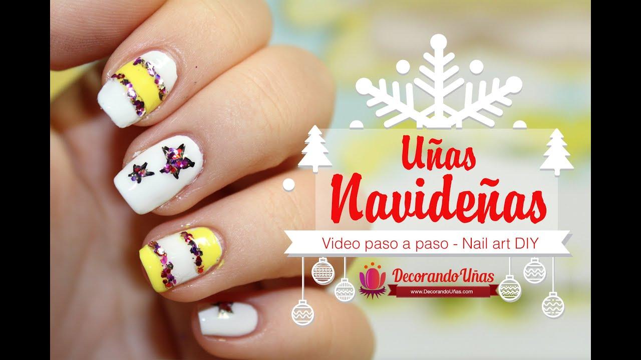 Uñas Decoradas Para Navidad Con Estrellas Y Glitter Youtube