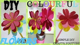 DIY Colorful Paper Flowers-How To Make Paper Flowers On A Drinking Straw
